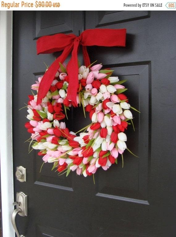 SUMMER WREATH SALE Valentine's Day Wreath- Valentine's Day Decor- Valentine Decoration- Tulip Wreath