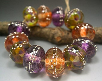 HANDMADE LAMPWORK BEADS Donna Millard sra hot spring summer colors boho gypsy orange purple gold