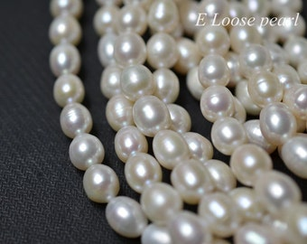 genuine Rice Pearl Large hole pearl freshwater pearl Necklace pearl white loose pearl 8.5-9mm 38pcs Full Strand Item No : PL6226