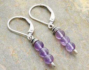 Purple Gemstone Earrings - Sterling Silver Amethyst Earrings - February Birthday Gift - Purple Earrings - Short Drop Earrings - #4902