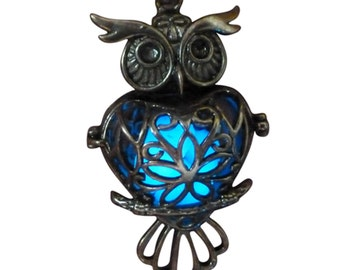 yOUR unIQue GoldEN oWL Blue glow in the dark necklace