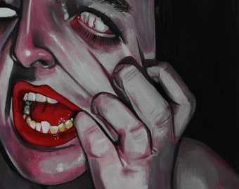 Stretched-Original Acrylic Painting 11x14 inches on Paper Fine Art Realism Small Art Scary Portrait Woman