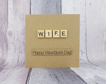 Wife Valentine's Day card, Scrabble card for wife, Handmade Scrabble tile card, Romantic anniversary card, Love card, Custom message