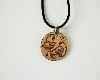 wood pendant with cord necklace, romantic handmade pyrography (wood burning), flowers
