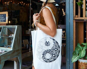 Tote-Bag Mandala Yin Yang / White Brown Red / Yoga bag / Zen Gift / Shopping bag / Gift for her