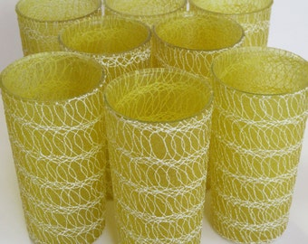 Retro Drinking Glasses Spaghetti String Yellow Vinly Plastic Coated Set Of 8
