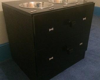 Dog food station with storage