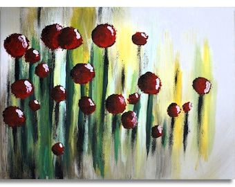 The small red garten: Acrylic Painting, Home Decor, red flower painting color by Manaldernaykaart