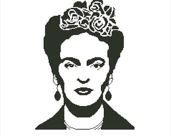Buy 2 Get 1 Free-Frida Kahlo cross stitch pattern-Modern cross stitch pattern-Feminist-PDF pattern-portrait-one color-Instant Download-P-107