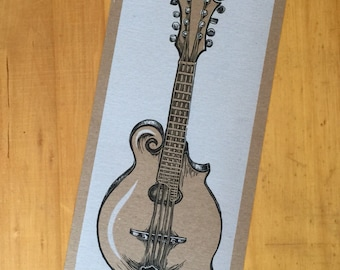 MANDOLIN Print, musical instrument, musician gift, letterpress poster, mandolin poster, bluegrass music, country music, nashville gift