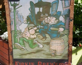 Original Vintage Fuzz & Firkin Pub Sign