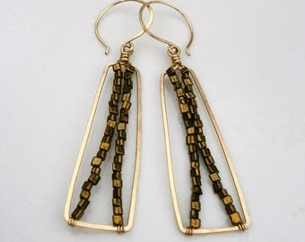 Gold Beaded Rectangle Earrings Gold Bar X Earrings Geometric Hoop Dangles 14k Gold Fill Drop Earrings Hammered Wire Jewelry