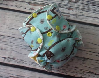 Newborn Fitted - Cloth Diaper - Cotton Velour - Baby Shower Gift - Owls