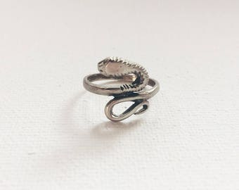 1960s Vintage Sterling Silver Rare Snake Serpent Ring