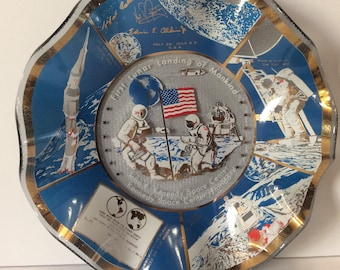 John F Kennedy space center Lunar moon landing collectible plate. Free ship to US