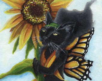 Black Cat Fairy Sunflower Butterfly Faerie Fantasy Art 8x10 Reproduction Print