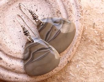One of a Kind Taupe Flint Earrings + Gary Wilson Stones + Artisan Jewelry + Designer + Desert Grey + Stone Earrings + Recycled Silver