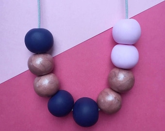 Beaded necklace, clay necklace, statement necklace, pink clay necklace, adjustable necklace, cord necklace, quirky necklace, navy necklace