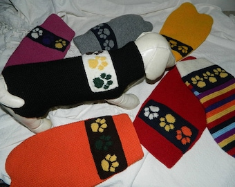custom made - made to measure  paw dog pet sweaters to insure a perfect fit  - available in any colors of your choice