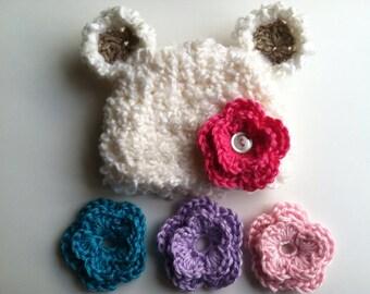 Baby Bear Interchangeable Flower Hat- Photo prop- newborn- baby girl