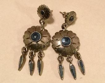 Silver Shield Dangle Earrings