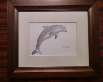 Bottlenosed dolphin watercolor painting.