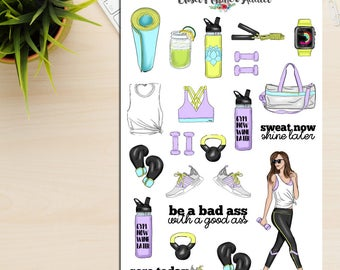 Fitness Girls Planner Stickers | Workout Stickers | Health Fitness | Exercise Stickers | Activewear | Motivational Quotes (S-237)
