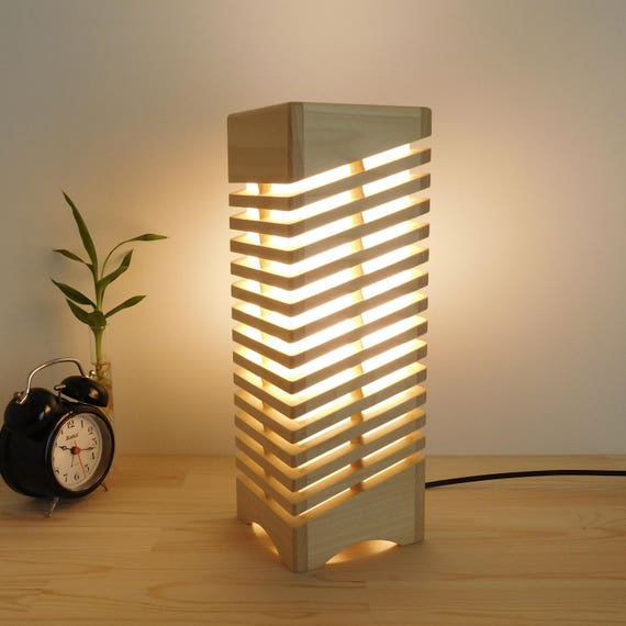 Handmade Wooden Lamps : Handcrafted wood desk lamp geometric wooden modern led