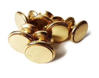 Vintage Round Brass Knobs  - Set of 6 Solid Brass Drawer Pulls, Brass Hardware, Bathroom Hardware - Country Kitchen