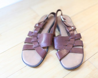 vintage cut out woven brown leather hurache sandals womens 6 *