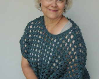Crochet Sweater, Crocheted Sweaters, Alpaca Sweater, Green Sweater, Layering Knits, Teal Sweater,  Open Weave Sweater, Available in L/XL
