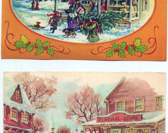 set of 3 Christmas card front panels. great for scrapbooking, c1960s and later, good shape