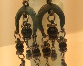 Repurposed Rustic Patinaed Earrings. Dangle Earrings