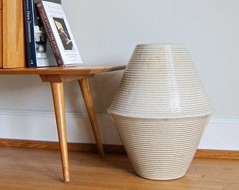 Vintage Zanesville Stoneage Modern Floor Vase - Large Stoneware Pottery Ribbed Ceramic Homespun Mid Century - Simple Neutral Earthy Decor
