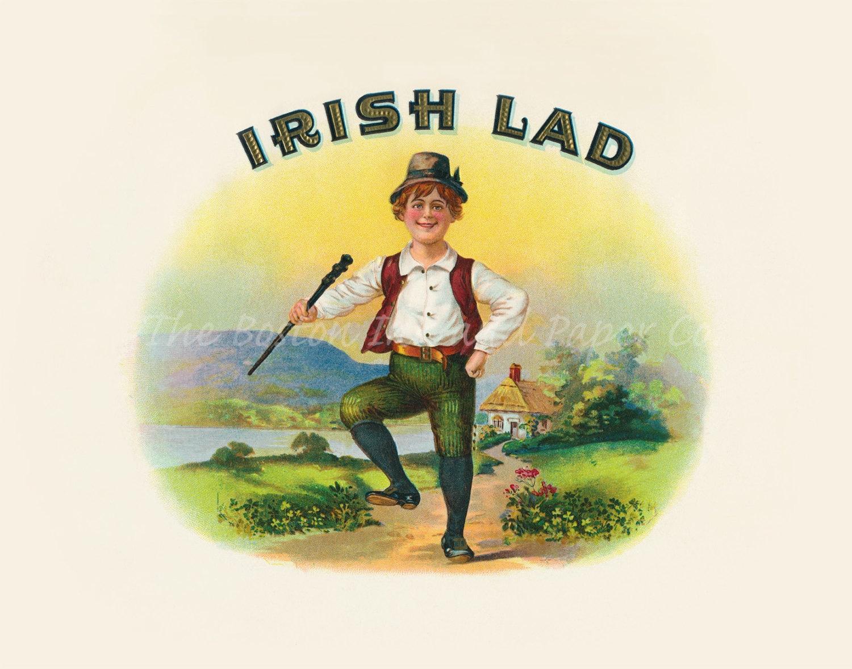 Irish Lad with Shillelagh Vintage Ireland Antique Advertising