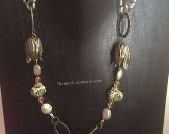 Elegant Bronze Tulip Necklace with Green and Brown Lampwork Beads, Amber & Pearls by Denise's Creations