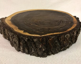 "Large Black Walnut Wood Slice 16 - 17.5"" diameter and 3"" thick"