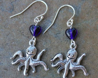 Octopus Love Earrings- pewter cephalopod charms, blue glass heart beads, sterling silver hooks- ocean, beach, marine life -Free Shipping USA