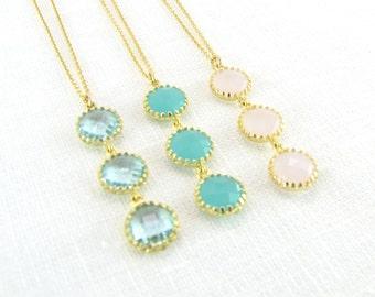 Triple Stone Drop Necklace