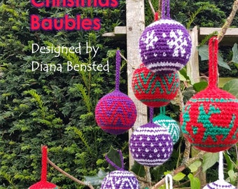 10 Tapestry Crochet Christmas Baubles - Physical book