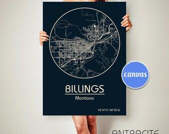 BILLINGS Montana CANVAS Map Billings Montana Poster City Map Billings Montana Art Print Billings Montana poster Billings Montana ArchTravel