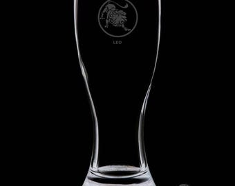 18 Ounce Leo Personalized Pilsner Glass