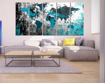 large abstract art black and turquoise world map canvas print world map wall art set world