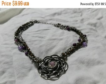On Sale Silver Toned and Purple Colored Beaded 15 inch Choker Necklace with Flower Pendant Costume Jewelry Fashion Accessory