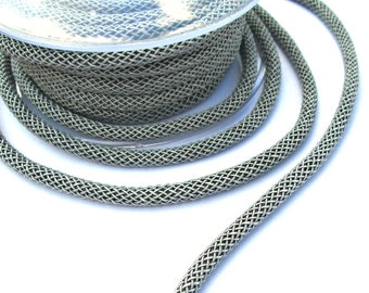 Gray braided silk cord, bookbinding cord, 6mm thick rope, 1m