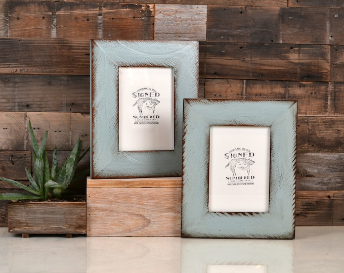 """5x7"""" Picture Frame in 2.25 Reclaimed Redwood with Super Vintage Homestead Green Finish Father's Day Gift - 5 x 7 IN STOCK Same Day Shipping"""
