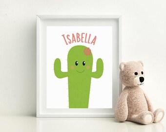 "Cactus Print, Bedroom Decor for Girls, Cactus Name Print, Nursery Decor Cactus, Cactus Printable, Wall Decor 8""x 10"" digital file/printable"