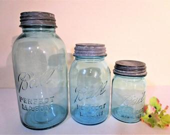 Vintage Aqua Blue Ball Perfect Mason Jars with Zinc Lids - Graduated Set - Half Gallon - Qt - Pint - No Underscore - 1923/1933 - Canisters