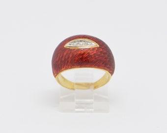 18K Yellow Gold Enamelled Diamond Ring Circa 1970, Size 5.75