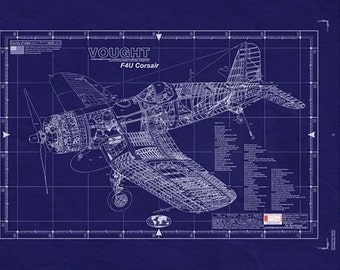 VOUGHT F4U CORSAIR Blueprint - Large Engineering Drawing WWII Aviation